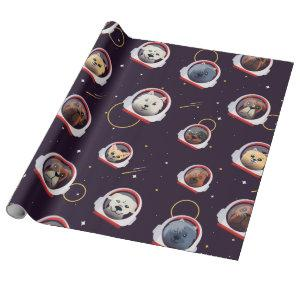 Dogs astronauts wrapping paper
