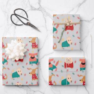 Dogs in Christmas sweater Wrapping Paper Sheets