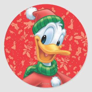 Donald Duck in Winter Clothes Classic Round Sticker
