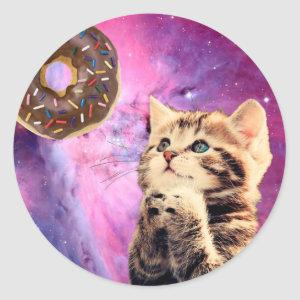 Donut Praying Cat Classic Round Sticker
