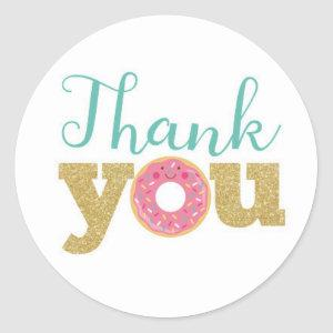 Donut Thank You Labels, Donut Sticker