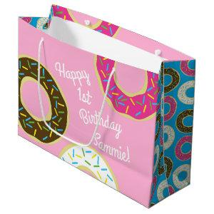 Donuts Colorful Doughnuts1st Birthday Party Theme Large Gift Bag
