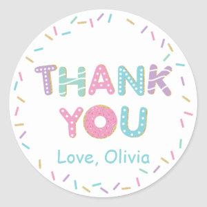 Donuts Sprinkles Birthday Baby Shower Thank You  Classic Round Sticker