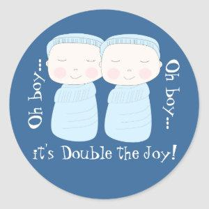 Double the Joy! Twin Boys Classic Round Sticker