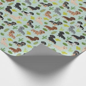 Doxie Dachshund Cactus Wrapping Paper
