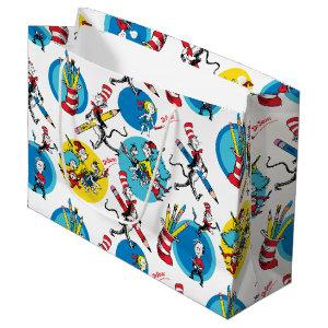Dr. Seuss   Characters With Pencils Pattern Large Gift Bag