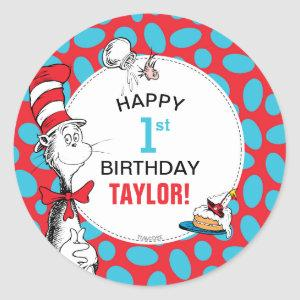 Dr. Seuss   The Cat in the Hat Birthday Classic Round Sticker