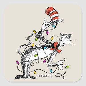 Dr Seuss | The Grinch | Mischievous Cat in the Hat Square Sticker