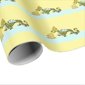 dragon birthday wrapping paper