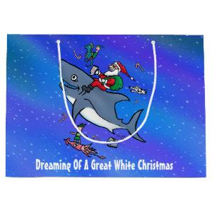 Dreaming Of A Great White Shark Christmas Custom Large Gift Bag