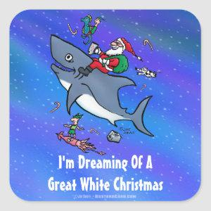 Dreaming Of A Great White Shark Christmas Square Sticker