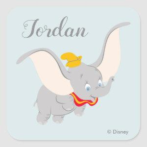 Dumbo Soaring Through the Sky Square Sticker