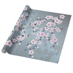 Dusky Pink Grayish Blue Floral Wrapping Paper