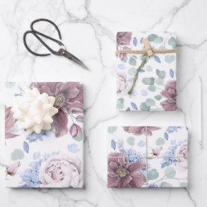 Dusty Blue and Mauve Flowers Botanical Pattern  Sheets