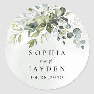 Dusty Blue Eucalyptus Greenery Succulent Wedding Classic Round Sticker