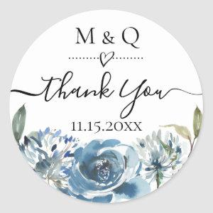 Dusty Blue Floral Wedding Favor Thank You Classic Round Sticker