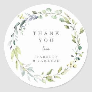 Dusty Blue Florals Thank You Sticker Tag