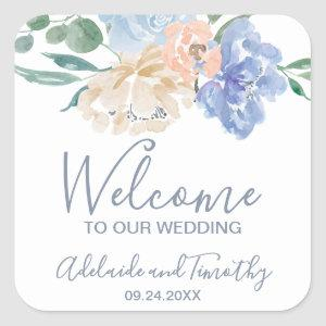 Dusty Blue Florals Wedding Welcome Square Sticker