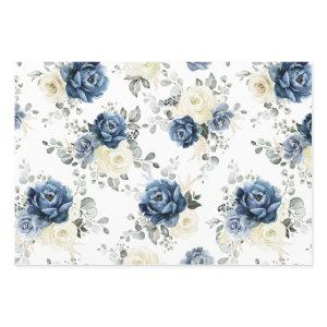 Dusty Blue Navy Champagne Ivory Floral Wedding  Sheets
