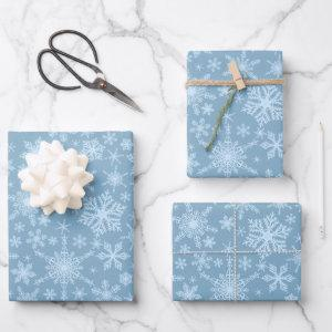 Dusty Blue Snowflakes Winter Holidays Christmas Wrapping Paper Sheets