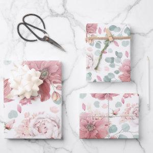 Dusty Pink Flowers Elegant Botanical Pattern Wrapping Paper Sheets