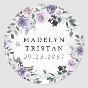 Dusty Purple and Silver Gray Floral Rustic Wedding Classic Round Sticker