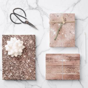 Dusty Rose Gold Blush Glitter Sparkle Glam Wrapping Paper Sheets