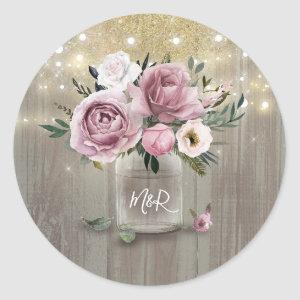 Dusty Rose Rustic Country Floral Mason Jar Classic Round Sticker