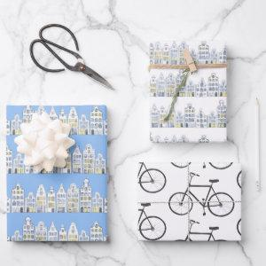 Dutch Houses Bikes Amsterdam Variety Pack Wrapping Paper Sheets