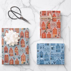 Dutch Houses Bikes Tulips Amsterdam Variety Pack Wrapping Paper Sheets