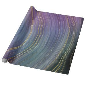 Earthy Cool Strata | Blue and Purple Gold Agate Wrapping Paper