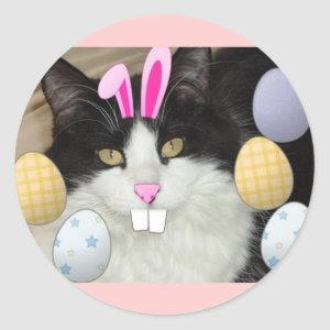 Easter Black and White Cat Classic Round Sticker