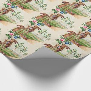 Easter Bunny Colored Egg Tree Wrapping Paper
