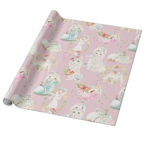 Easter Bunny Cute Rabbits Print Wrapping Paper