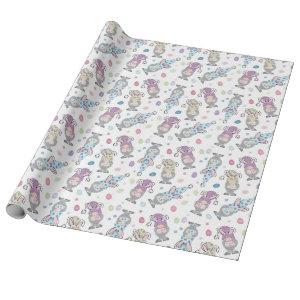 Easter Bunny Gnome Pattern Wrapping Paper