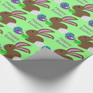 Easter Bunny Rabbit Decorated Eggs Wrapping Paper