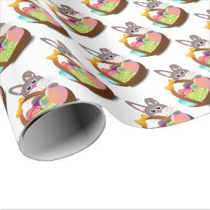 easter bunny with eggs wrapping paper