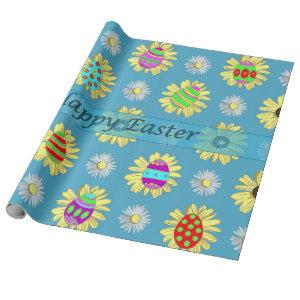 Easter Eggs Daisies on Blue Wrapping Paper