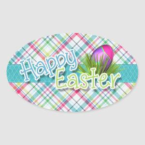 """Easter - """"Happy Easter"""" Word Art on Stripes Oval Sticker"""