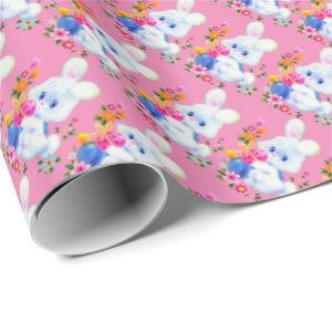Eastr Bunny and eggs pattern wrapping paper