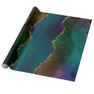 Edgy Agate | Dark Moody Jewel Tone Mystic Teal Wrapping Paper