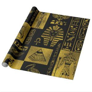 Egyptian  Gold hieroglyphs and symbols collage Wrapping Paper