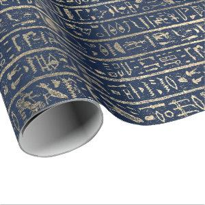 Egyptian Hieroglyphs Gold Blue Navy Pharaohs Wrapping Paper