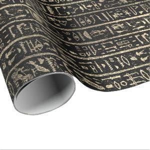 Egyptian Hieroglyphs Gold Foxier Faux Black Luxury Wrapping Paper
