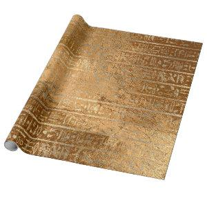 Egyptian Hieroglyphs Gold Grass Metallic Stripes Wrapping Paper