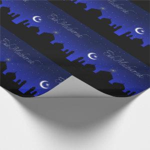 Eid Mubarak Night Stars Mosque Wrapping Paper