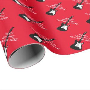 Electric rock guitar Christmas Holiday gift Wrapping Paper