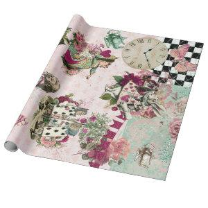 Elegant Alice in Wonderland Pink Wrapping Paper