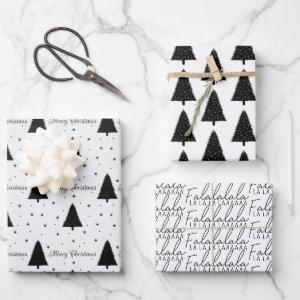 Elegant Black and White Christmas Tree Merry Xmas Wrapping Paper Sheets