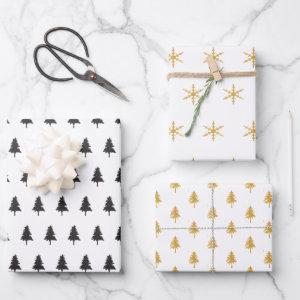 Elegant Black Gold Christmas Tree Pattern Gift Wrapping Paper Sheets